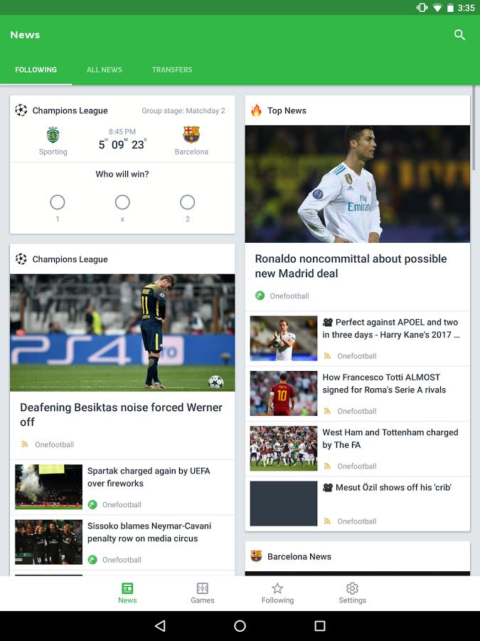 دانلود نرم افزار نمایش زنده نتایج فوتبال Onefootball Live Soccer Scores v9.10.1