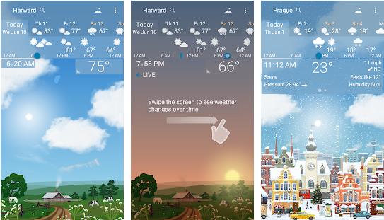 برنامه هواشناسی برای اندروید YoWindow Weather